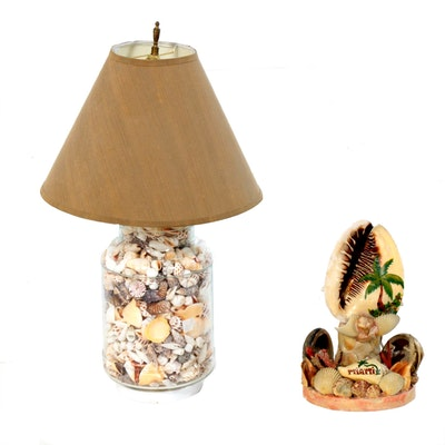Seashell Lamps Featuring Miami Souvenir Shell and Coral TV Lamp, Mid-20th C.
