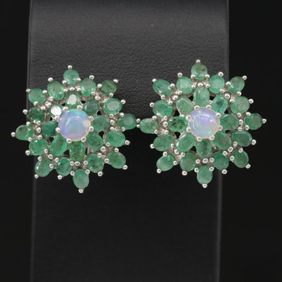 Sterling Opal and Emerald Earrings