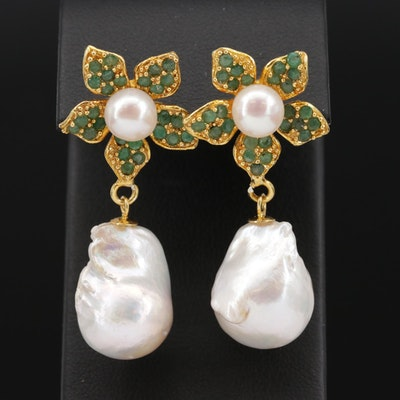 Sterling Pearl and Emerald Earrings