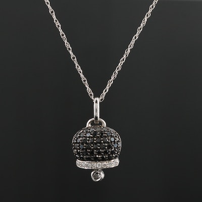 14K White Gold Articulating Diamond Bell Pendant Necklace