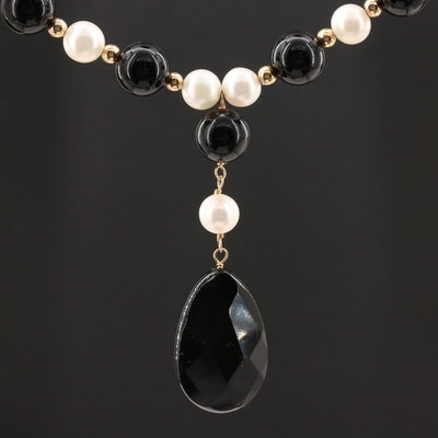 14K Yellow Gold Black Onyx and Cultured Pearl Strand Necklace