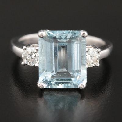 14K White Gold 3.60 CT Aquamarine and Diamond Ring
