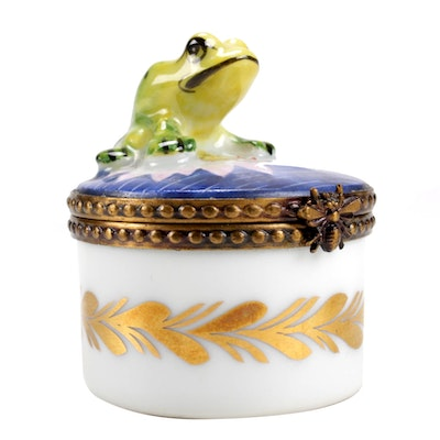 Rochard Hand-Painted Porcelain Frog Limoges Box