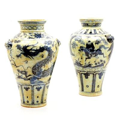 Chinese Dragon and Warrior Hand-Painted Floor Vases with Guardian Lion Handles