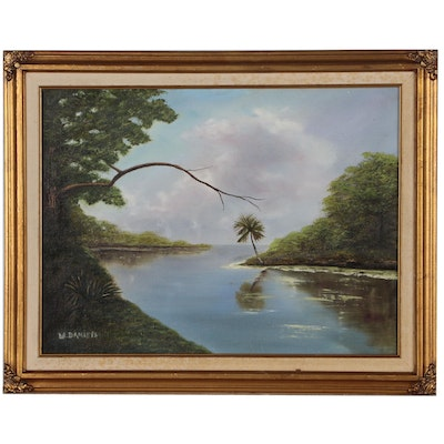 Willie Daniels Tropical Landscape Oil Painting