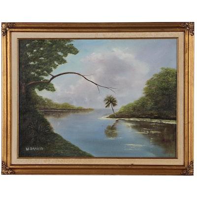 Willie Daniels Tropical Landscape Oil Painting