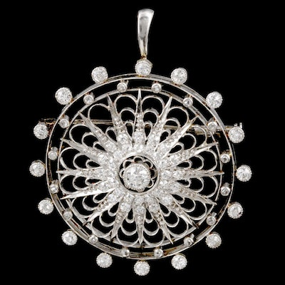 Belle Époque Platinum 1.88 CTW Diamond Starburst Converter Brooch