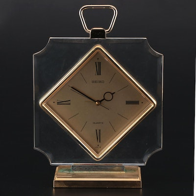 Seiko Gold Tone and Lucite Quartz Alarm Clock