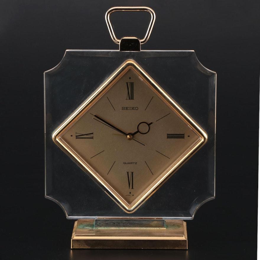 Seiko Gold Tone and Lucite Quartz Alarm Clock
