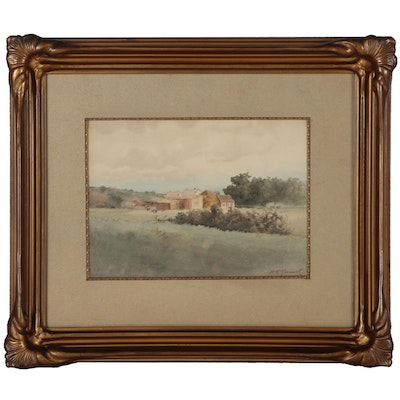 M. McCormack Landscape Watercolor Painting, 1895
