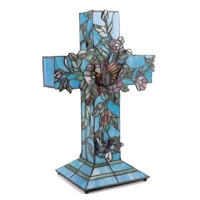 Art Nouveau Style Slag Glass Cross Table Lamp
