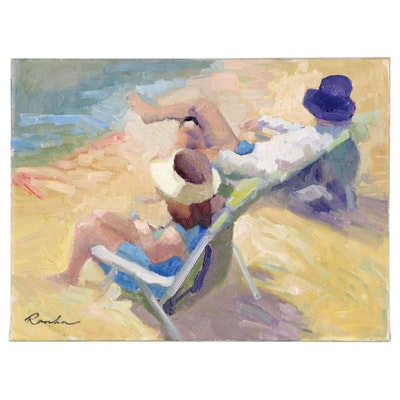 Sally Rosenbaum Beach Scene Oil Painting