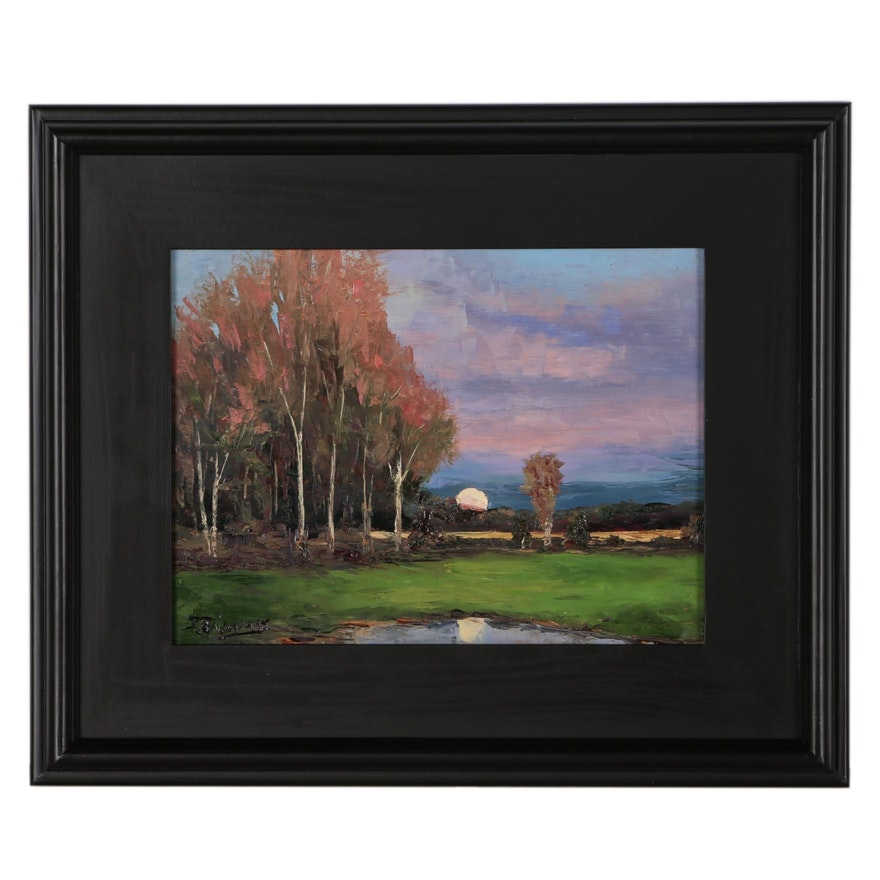 "James Baldoumas Oil Painting ""Moonrise"""