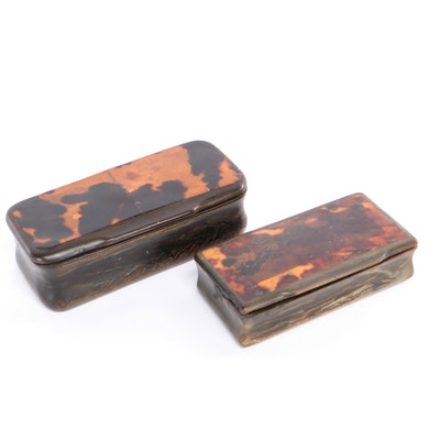 Carved Tortoise Shell Trinket Boxes