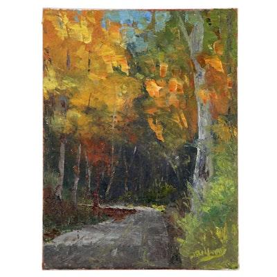 """James Baldoumas Oil Painting """"Autumn Path"""", 2019"""