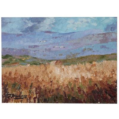 """James Baldoumas Oil Painting """"Mountain View"""", 2019"""