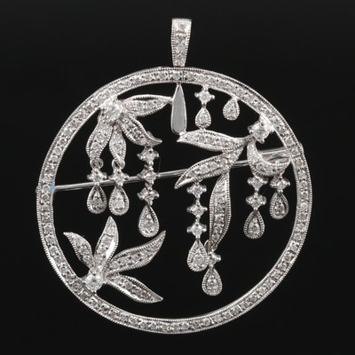 18K White Gold 1.10 CTW Diamond Articulating Converter Brooch