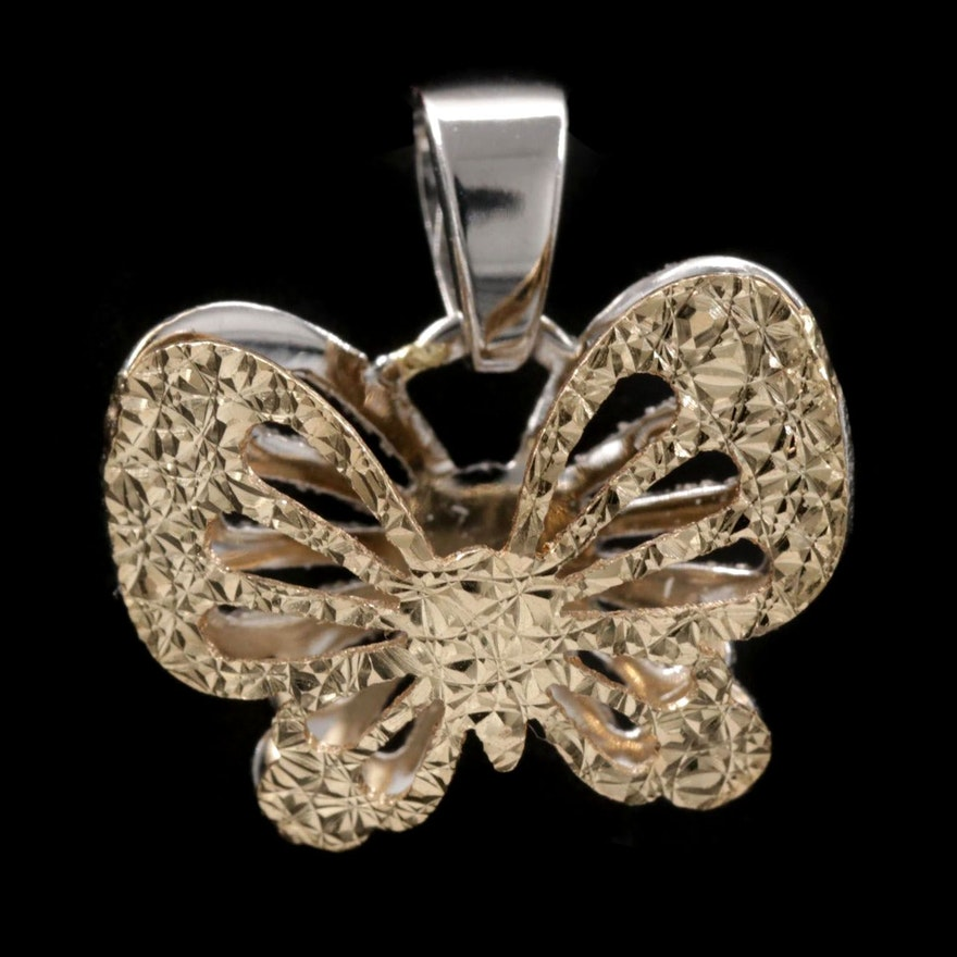 14K Yellow and White Gold Reversible Butterfly Pendant