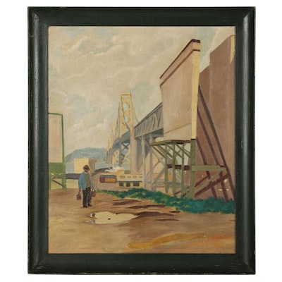 Oil Painting of Industrial Scene with Bridge and Figure, Circa 1937