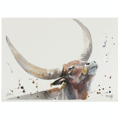 Marina Lebed Watercolor Painting of Bull
