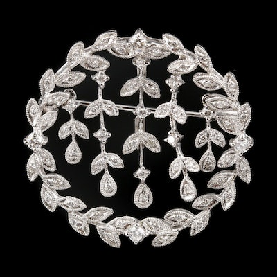 18K White Gold Diamond Articulating Converter Brooch