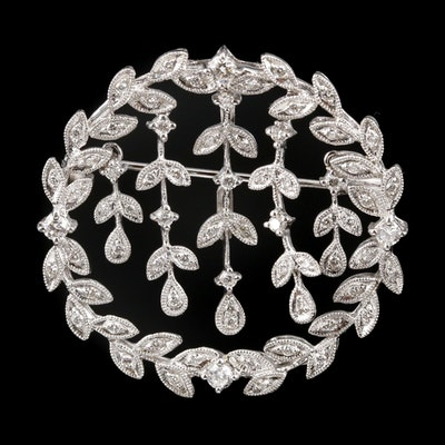 18K White Gold Diamond Articulating Converter Brooch