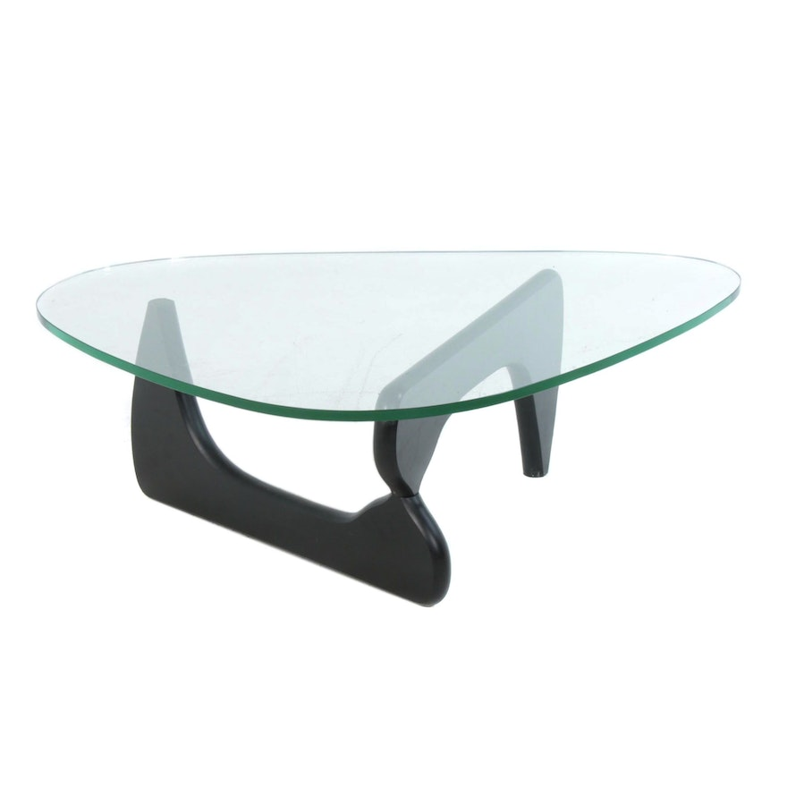 Modernist Isamu Noguchi Style Ebonized Wood and Glass Top Coffee Table