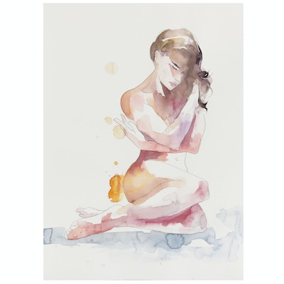 Watercolor Painting of Female Nude