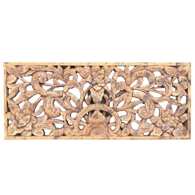 """Contemporary Wood """"Bastia"""" Wall Plaque With Antique Gold Finish"""