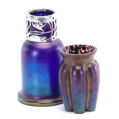 Art Nouveau Style Iridescent Glass Vases