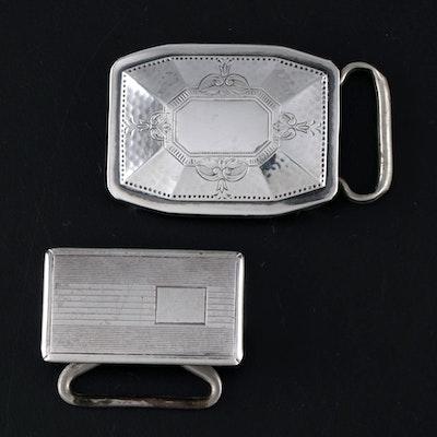 Sterling Silver Engraved and Engine Turned Belt Buckles, Vintage