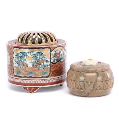 Japanese Porcelain Censer with Lotus Flower Polished Stone Box