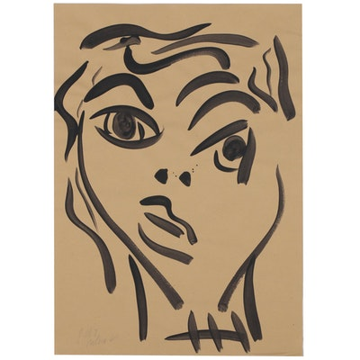 Peter Keil Acrylic Portrait Painting, 1964