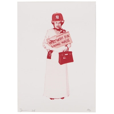 """Death NYC Offset Lithograph """"Queen NY Red"""""""