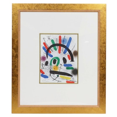 Abstract Color Lithograph After Joan Miró