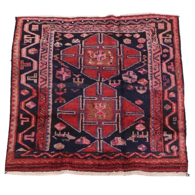 5'1 x 5'1 Hand-Knotted Persian Kelardasht Wool Rug