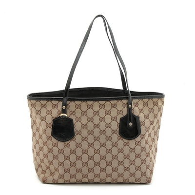 Gucci GG Supreme Canvas Tote Trimmed in Black Patent Leather, Vintage