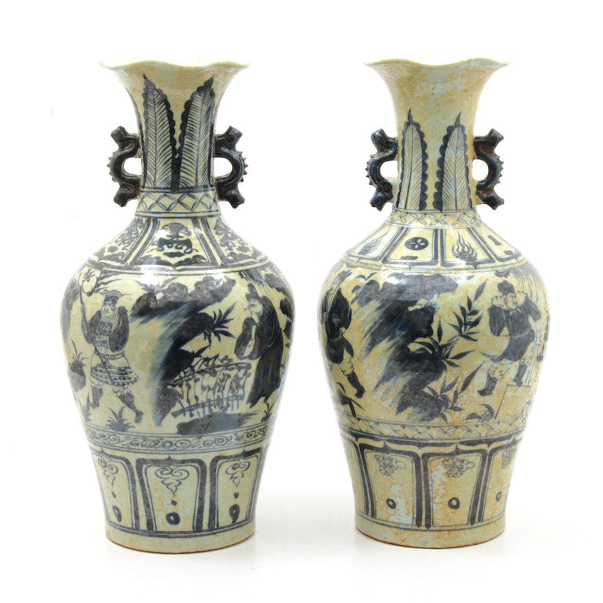 East Asian Fluted Blue and White Antiqued Floor Urns with Dragon Handles
