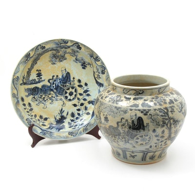 Chinese Hand-Painted Jardinière and Charger Centerpiece Bowl, 20th Century