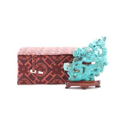 Chinese Turquoise Carved Dragon with Presentation Box