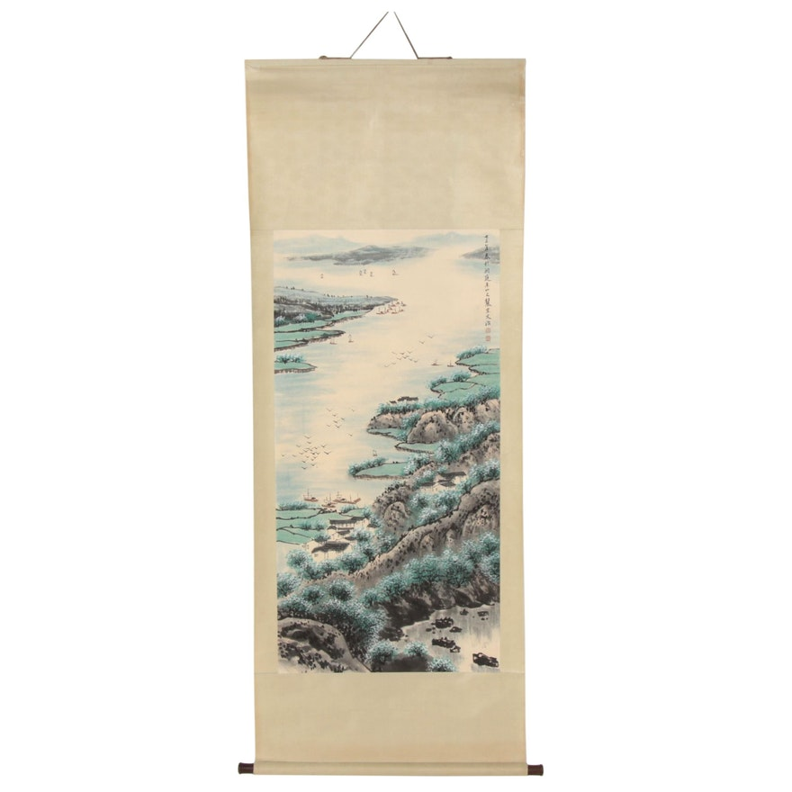 Chinese Harbor Landscape Gouache and Watercolor Hanging Scroll