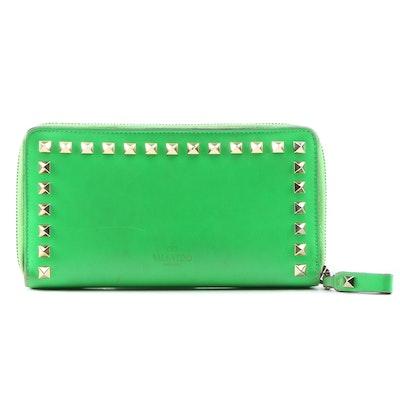 Valentino Garavani Rock Stud Neon Green Leather Zipper Wallet