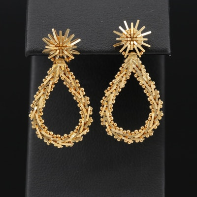 18K Yellow Gold Riccio Drop Earrings