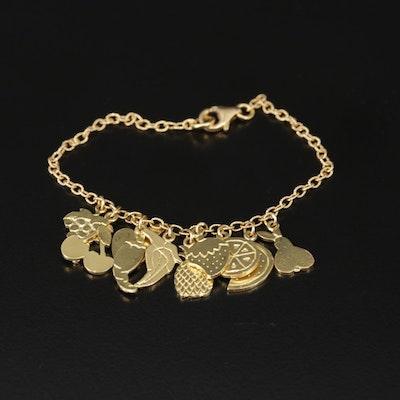 18K Yellow Gold Fringe Bracelet with Fruit Motif