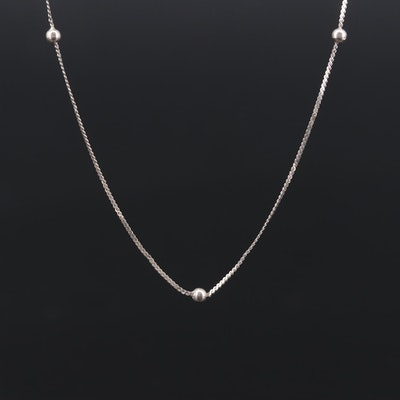 Sterling Silver Serpentine Chain with Bead Stations
