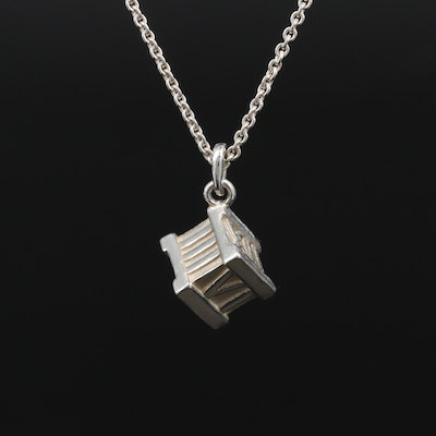 "Tiffany & Co ""Atlas Cube"" Sterling Pendant Necklace with Travel Pouch"