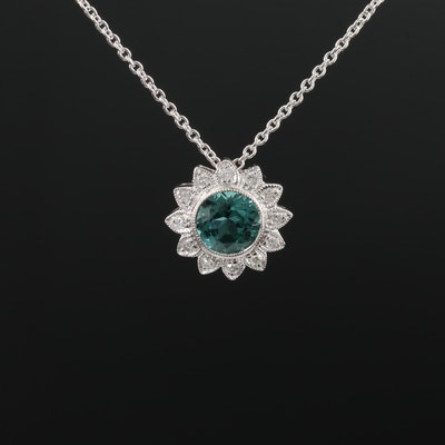 18K White Gold Tourmaline and Diamond Milgrain Necklace