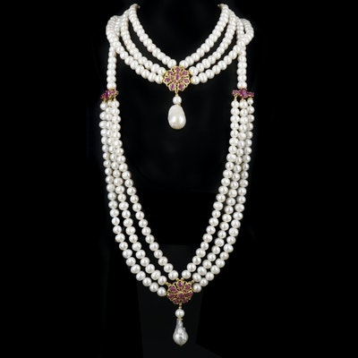 Sterling Silver Ruby and Cultured Pearl Festoon Necklace