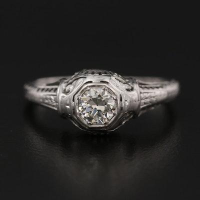 Art Deco Belais 18K White Gold Diamond Engraved Open Work Ring