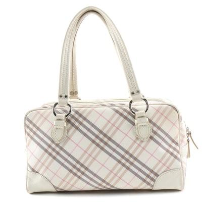 Burberry London Blue Label Tan and Pink Check Canvas Satchel